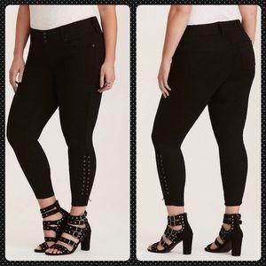 Torrid 26 Jeans Jeggings Black Stretch Lace Up